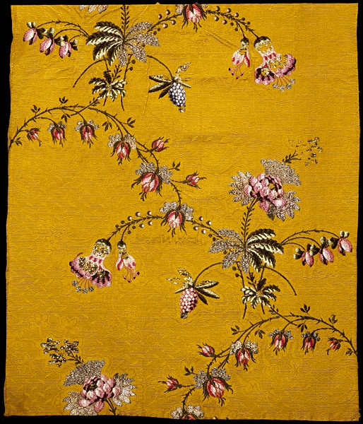 Spitalfields silk brocade dress panel c. 1749-1752