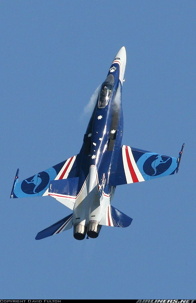 RAAF speacially painted Hornet pulling hard