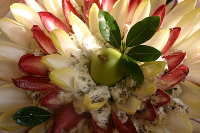 """such a pretty presentation for the endive with pear and chevre from """"Cook Like a Caterer"""""""