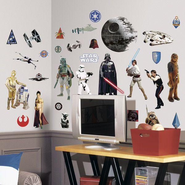 Adesivi Murali: Personaggi classici Star Wars e navi Millennium Falcon, Morte Nera (Death Star), X-Wing, T-Fighter... Adesivo mural Star Wars. #starwars #vinile #muro #parete #decorazione #deco #StickersMurali