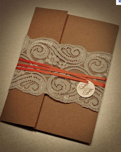 Recycled/lace wedding invitation  www.flickr.com/photos/aus_chick/4820237950/