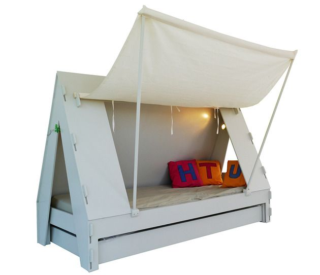 Children's trundle bed that is also a tent