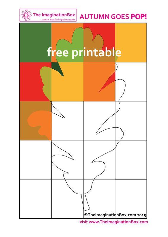 Pop Art oak leaf 'hidden' printable - explore the rich colors of Fall