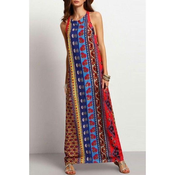 Multi Color Tribal Print Sleeveless Dress ($27) ❤ liked on Polyvore featuring dresses, multi, multi color maxi dress, sleeveless cocktail dress, holiday maxi dresses, tribal print dress and special occasion dresses