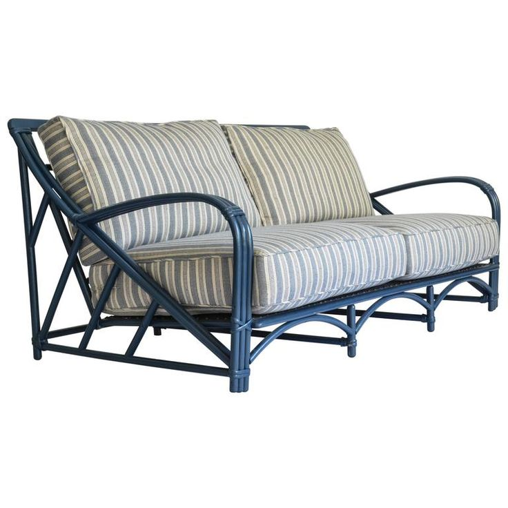 Blue Rattan Sofa with Performance Fabric Upholstery   From a unique collection of antique and modern sofas at https://www.1stdibs.com/furniture/seating/sofas/