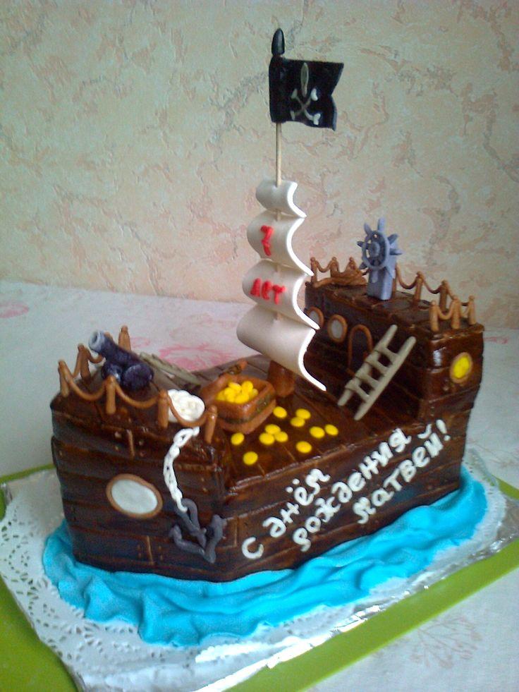 """Торт """"Пиратский корабль"""". украшения из мастики. Состав: шоколадный бисквит+ крем масло+ сгущенка, вишня, орехи. Вес 4 кг Цена: 4800 руб."""