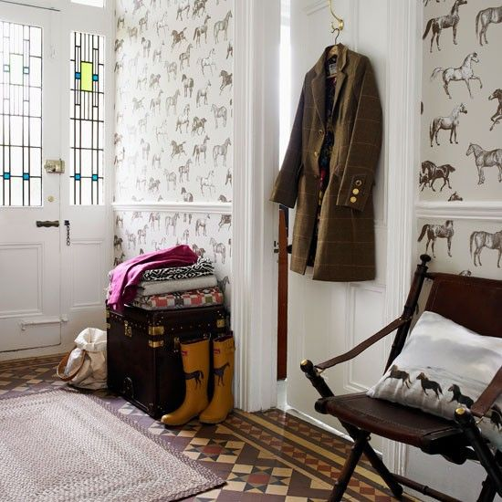Love this wallpaper! Make way for heritage style with these country hallway ideas