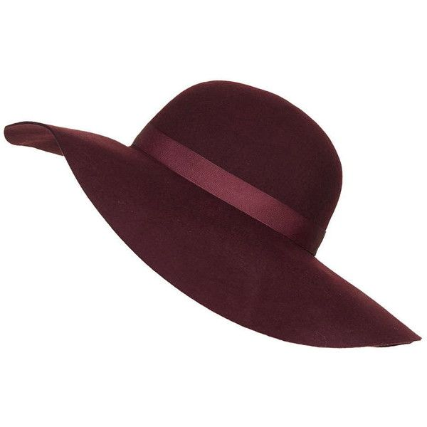 TopShop Straight Brim Floppy Hat found on Polyvore featuring accessories, hats, head, burgundy, fedora hat, floppy hat, brimmed hat, wide brim fedora hat and band hats
