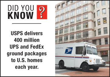 """""""Did You Know?"""" USPS delivers 400 million UPS and FedEx ground packages to homes each year."""
