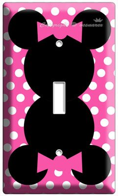 Minnie Mouse Pink Polka Dot Single Light Switch Wall Plate Cover Girl Room Decor | eBay *closet switch* getting this for aaliyah room