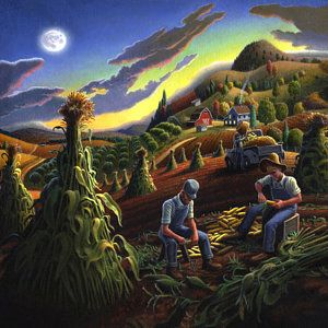 Shucking Corn Harvest Sunset Country Farm Life Landscape - Square Format Poster by Walt Curlee