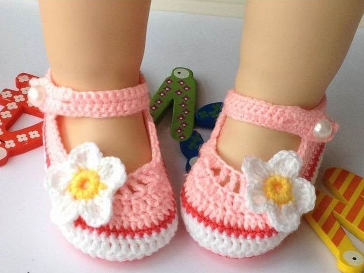 Pink Flower Hand Knitted Baby Booties
