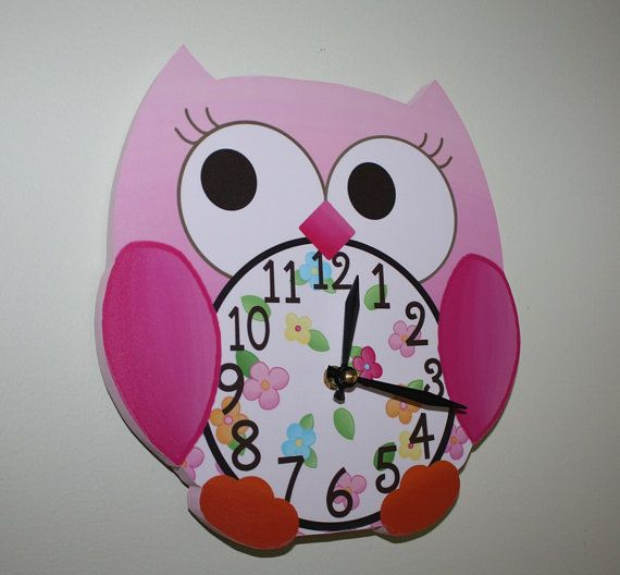 Pink Love Owl Wooden WALL CLOCK for Girls Bedroom Baby Nursery to Match Many Bird Bedding Themes on Etsy, $45.00