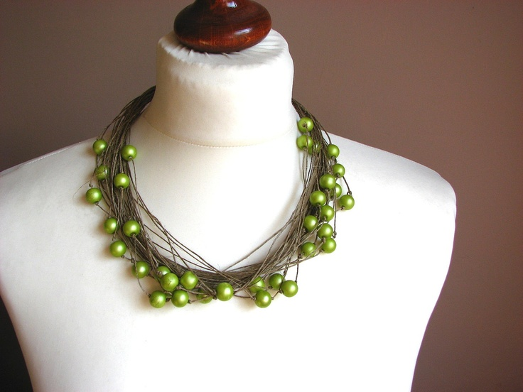 Green Matt pearl - Big linen Pearls Necklace. $30.00, via Etsy.