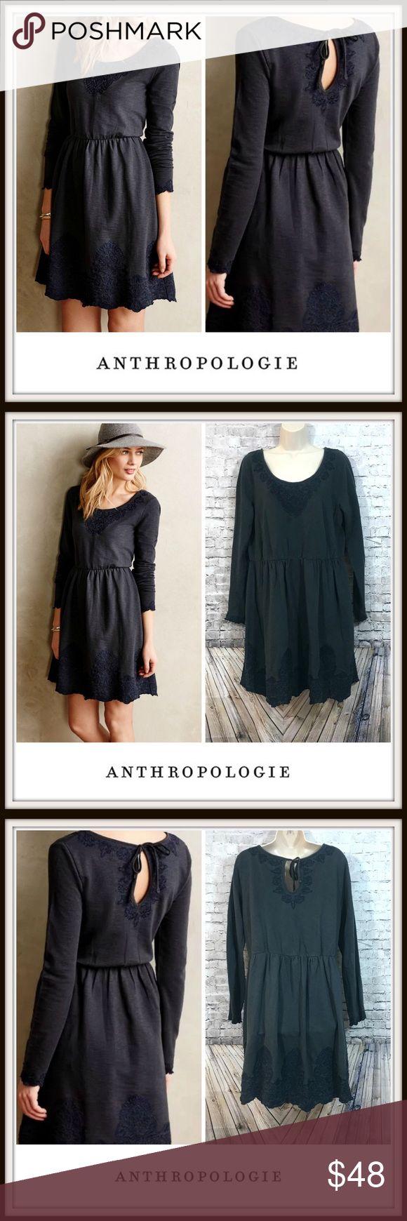 💋 Anthropologie Saturday Sunday Ellie Knit Dress Anthropologie Saturday Sunday Ellie Knit Dress | • Embroidered Hem & Sleeves | • Color: Gray/Blue | • Sz: XL Anthropologie Dresses