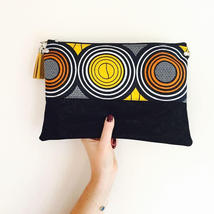 Idée cadeau : Pochette Sac tissu wax éthnique jaune orange afrique et suédine noir - gipsy géométrique