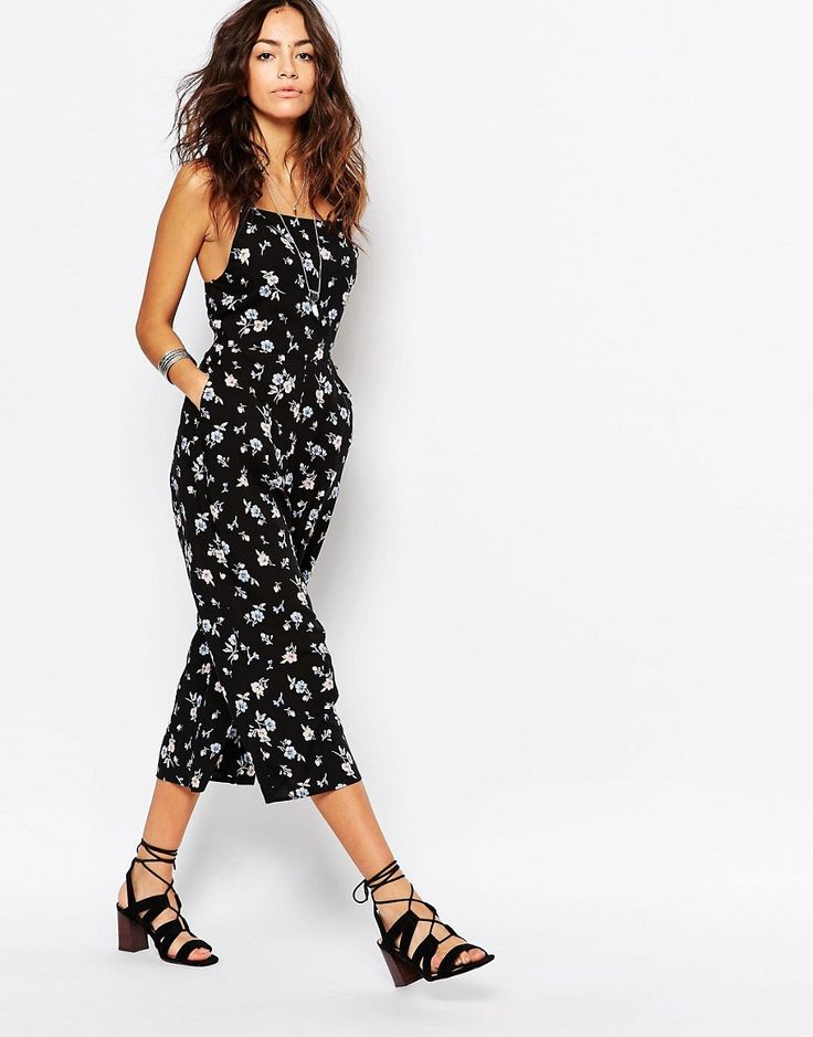 Image 1 of New Look Ditsy Culotte Jumpsuit