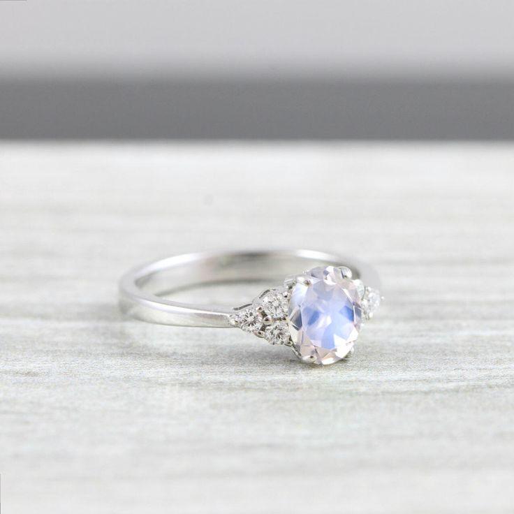Moonstone and Diamond oval engagement ring in white/rose/yellow gold for her handmade ring UK by aardvarkjewellery on Etsy https://www.etsy.com/ca/listing/519823247/moonstone-and-diamond-oval-engagement