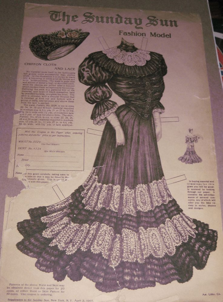 Sunday Sun Black Dress for the Sunday Sun Doll / Chiffon Cloth and Lace / Supplement to the Sunday Sun, New York, New York, April 2, 1905 / You ordered the pattern for 20 cents