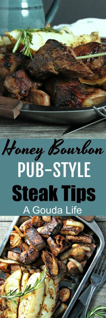 Honey Bourbon Pub Style Steak Tips ~ pan-seared caramelized steak tips just like your favorite pub, topped with saut�ed mushrooms and onions and served up with the best potatoes. Ever. #steak #beef