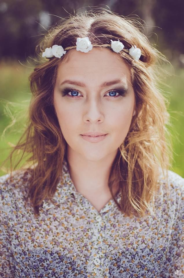 WHAT A BEAUTY! Photography done by Joshua Hew, Makeup done by myself. #flowers #blonde #wreath #nature #princess #green #blueeyes #eyes #inspiration #portrait