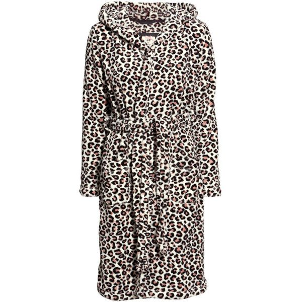 H&M Fleece dressing gown (€15) ❤ liked on Polyvore featuring intimates, robes, leopard print, leopard robe, leopard print bathrobe, hooded bath robe, h&m and hooded robe
