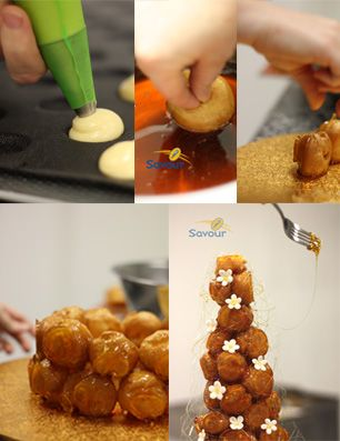 Come and learn how to make a croquembouche at Savour School in our step-by-step class! #croquembouche