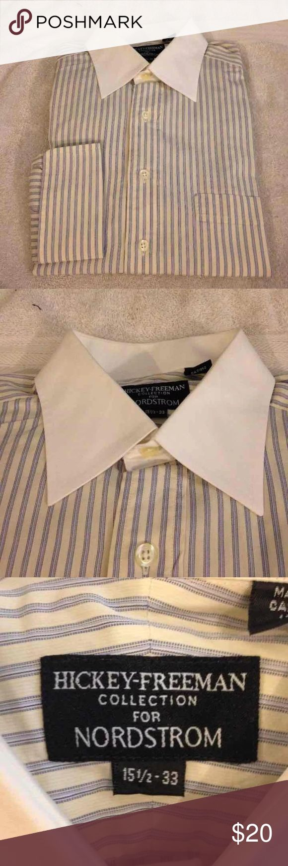 Hickey Freeman Yellow Stripe Shirt 15.5-33 Hickey Freeman Yellow, White and Navy Stripe White Collar French Cuff Dress Shirt size 15.5-33! Like new! Please make reasonable offers and bundle! Ask questions! :) Hickey Freeman Shirts Dress Shirts