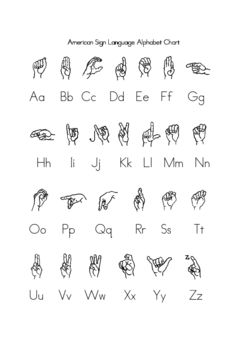 ASL alphabet chart - FREE printable