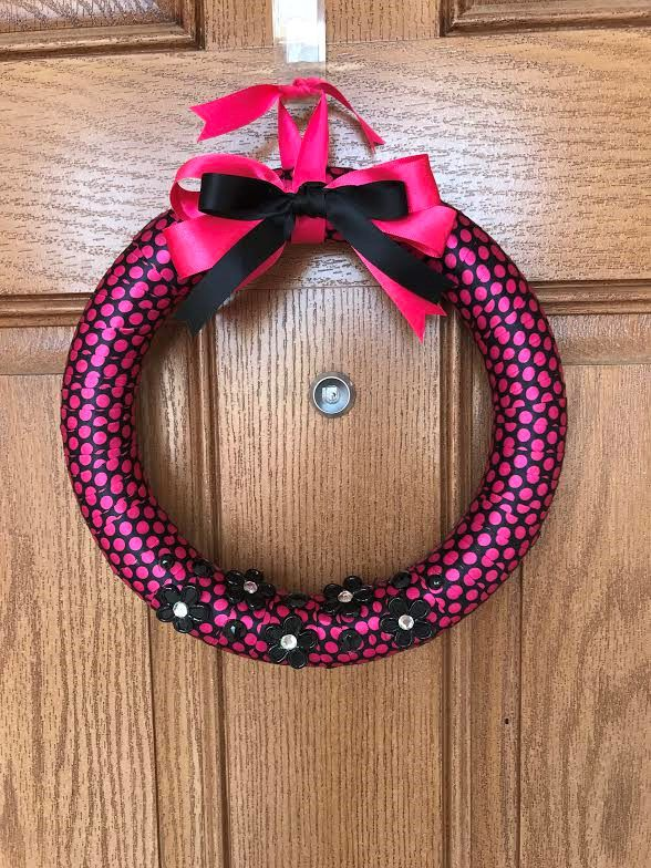 Pink Wreath / Pink and Black Wreath / Pink Polka Dot Wreath / Pink Ribbon Wreath / Girl's Room Wreath / Black Polka Dot Wreath by Starsandmoondesigns on Etsy