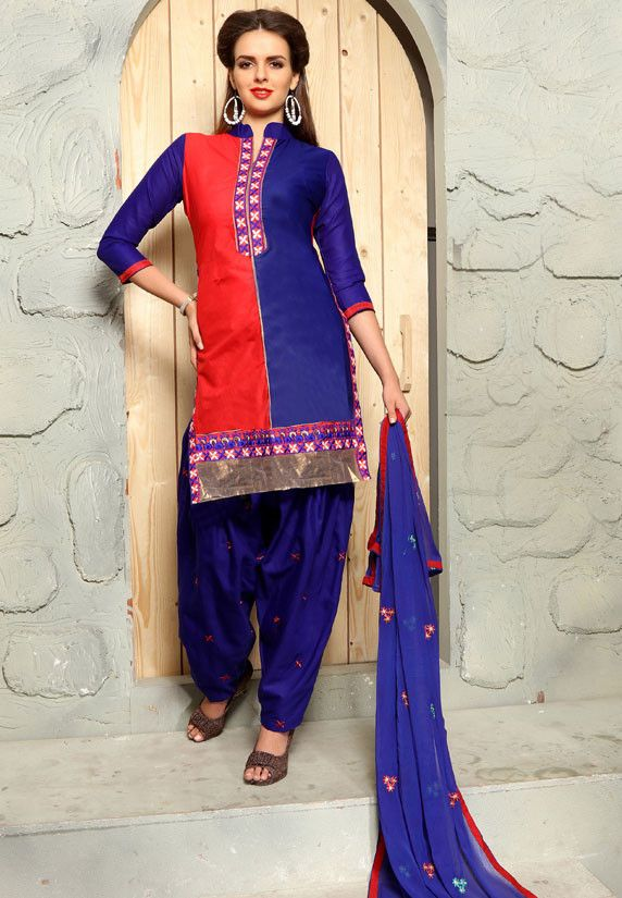 Indigo Blue and Hot Red Cotton Patiala Kameez