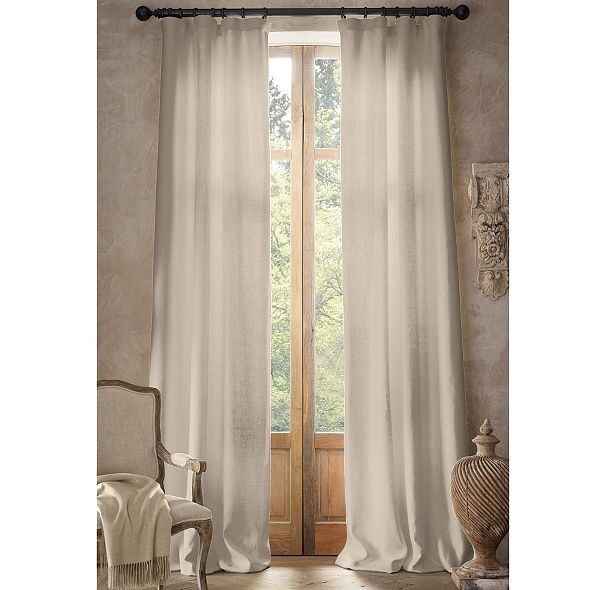 Basket weave linen drapery in sand 6 windows home for Restoration hardware silk curtains