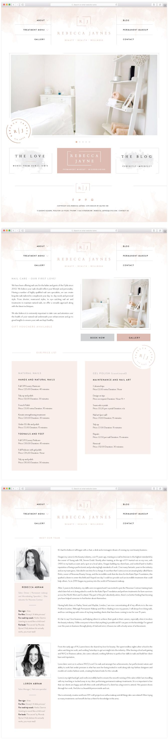 Rebecca Jaynes Beauty Salon Brand Design by Salted Ink   Salon Branding   Brand Design and Website Design   View the full brand transformation at www.saltedink.com  