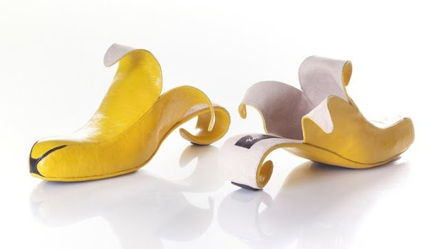 Slipping on a banana peel wearing this yellow shoes would be too bad indeed.