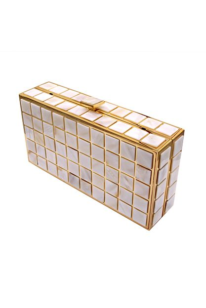 Mother of pearl clutch with golden color metal frame. Item number B14-03