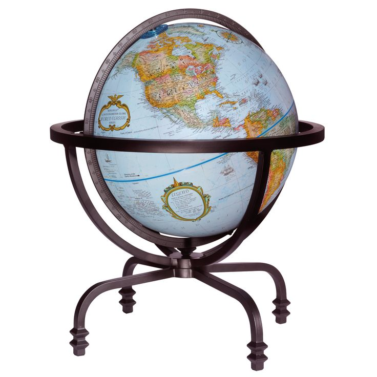 Auburn Desktop World Globe, Grey