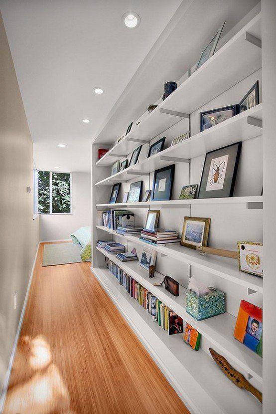 Shelves for more storage along narrow hallway    @pattonmelo