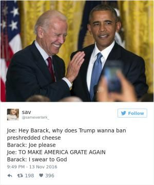 A roundup of the best memes showing Barack Obama and Joe Biden's imagined conversations about pranking Donald Trump.: Banning Cheese