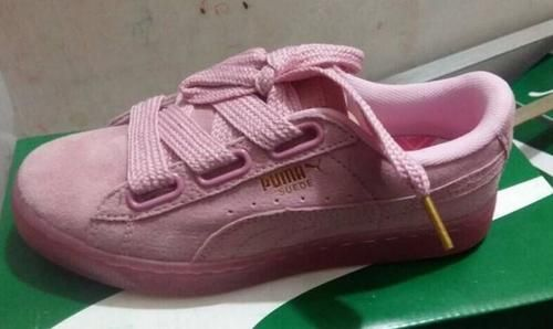 Puma Womens Suede Heart Patent Casual Shoes Pink