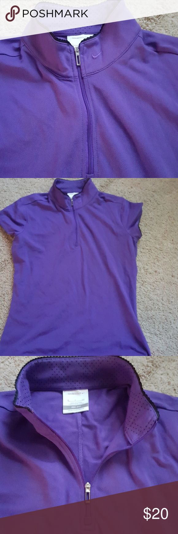 Nike Top Purple mid zip front. Can be a V neck or mock neck. Short sleeve with black piping detail. Dri fit by Nike Nike Tops