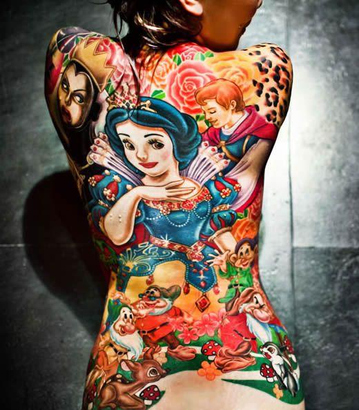 Snow White Back Tattoo