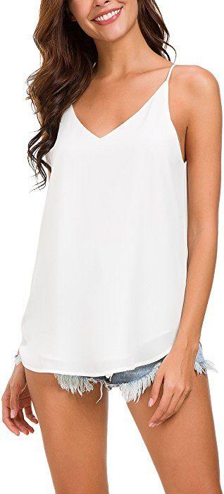 c5ee82766bda43 Evera B Women's V-Neck Chiffon Adjustable Spaghetti Strap Cami Top (Off  White, Medium) at Amazon Women's Clothing store: