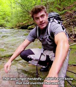 """When he realized the not-rabbit was disgusting and he didn't like the smell on his fingers.   27 Absolutely Wonderful Moments Of Zac Efron On """"Running Wild With Bear Grylls"""""""