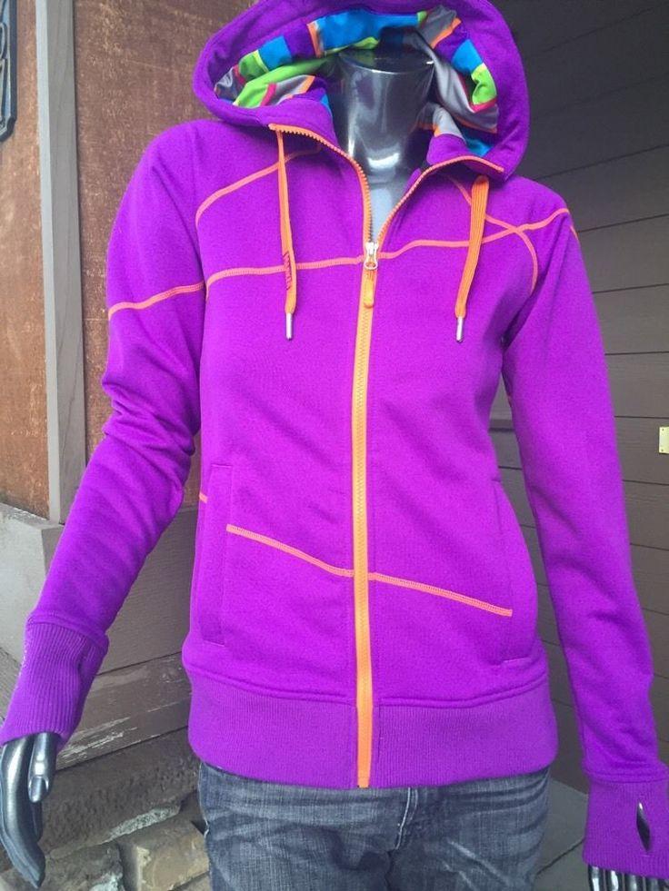 Women's Marker Purple Zip Hoodie Jacket Multi Color XS-S Training Ski Yoga Run  | eBay