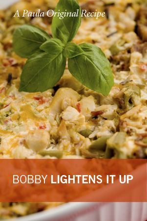 Chicken and Rice Casserole from Paula Dean, lightened up by Bobby Dean. This sounds healthy and delicious but I HAVE to add the 4 ounce of pimentos the original recipe called for!!