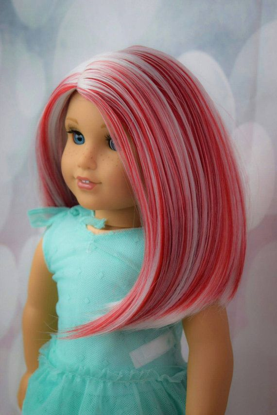 This listing is for a Custom Wig Designed For American Girl Dolls or any 10-11 inch doll heads. COLOR: CANDY CANE Good for Christmas yet perfect for a Valentines Doll too! This is a Exquisite Doll Designs Wig. Made and Designed by Myself. This is a heat safe wig. Safe for use up to 250°. Although, I strongly recommend never going higher then 150°. ALL irons differ and can heat higher then it states. I have tested all my wigs and 150° Styles fabulous! This wig will fit any 18 inch American…