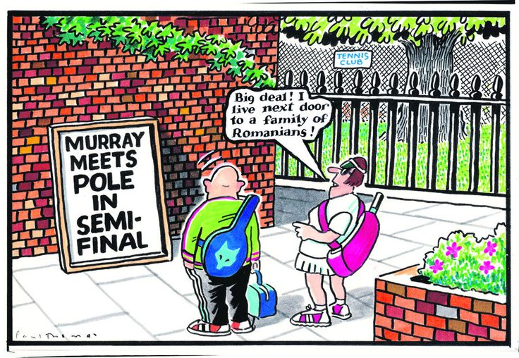 5 July 2013 - Two tennis fans see Murray's next match is against a Pole - and they comment on the immigration system.