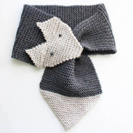 Beginner knitting pattern for a cute fox scarf (women and child sizes) wow, thanks so xox ☆ ★ https://www.pinterest.com/peacefuldoves/