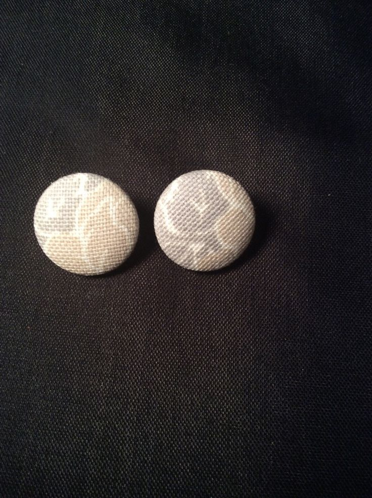 Grey, Tan and White Abstract Button Earrings
