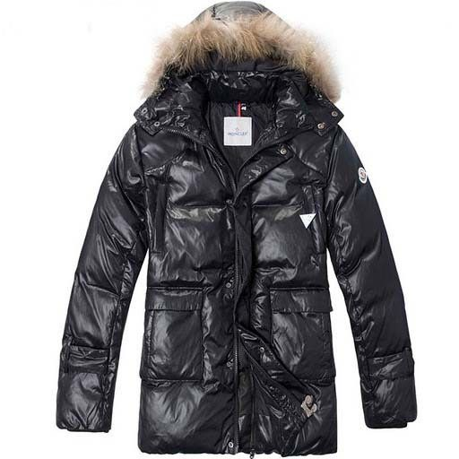 Moncler Bright Face Mens Long Down Coat Fur Collar Black - : off discount  code: happywinter